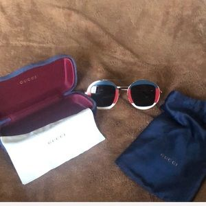 Red/White/Blue/Gold  Round Lens Gucci Sunglasses
